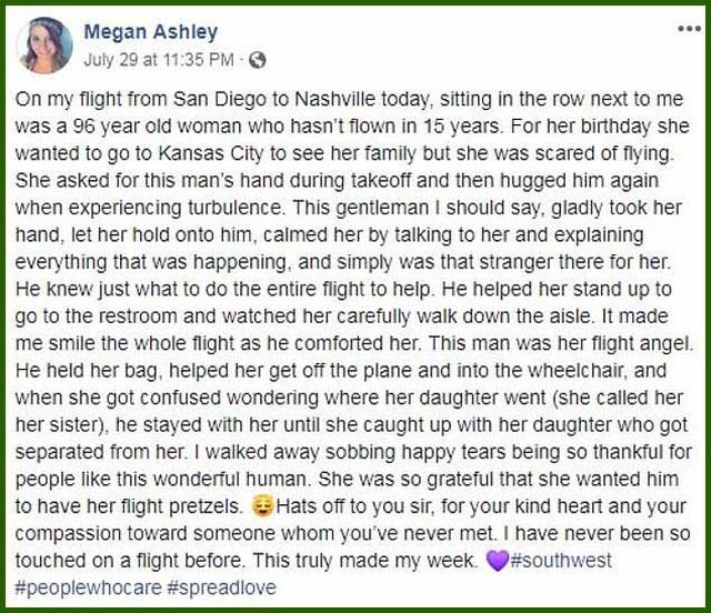 Chàng trai nắm tay và động viên bà cụ 96 tuổi suốt hành trình một chuyến bay - 2