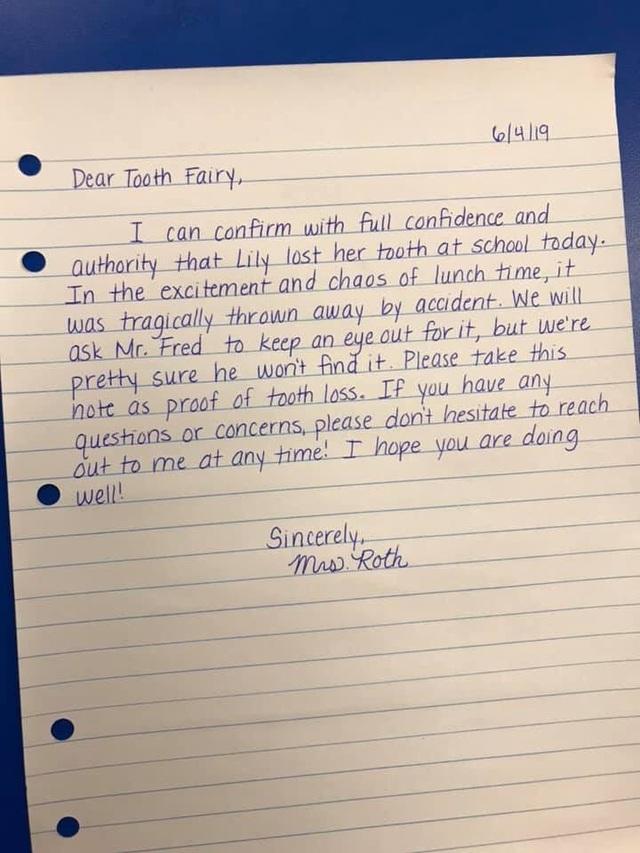 Mỹ: Răng sữa của học sinh bị mất, giáo viên viết thư giải trình gửi bà tiên răng - 1