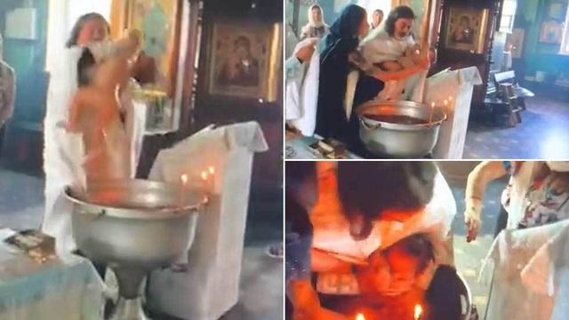 Nga: Video hãi hùng linh mục rửa tội như dìm chết em bé - 1