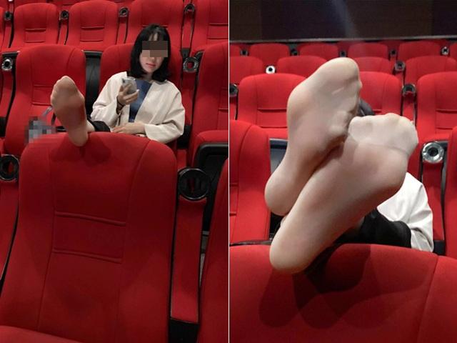 """Vô tư gác chân lên ghế trong rạp phim, gái xinh như hoa nhận đủ """"gạch đá"""" - 1"""