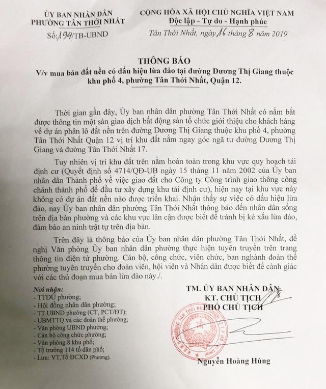 UBND phường cảnh báo dự án ma bán đất nền giá rẻ - 2