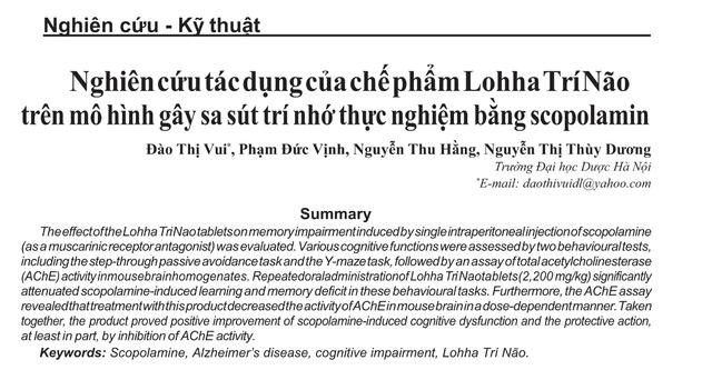 Nghiên cứu của PGS - Tiến sĩ Đại học Dược chứng minh hiệu quả của Lohha Trí Não - 1