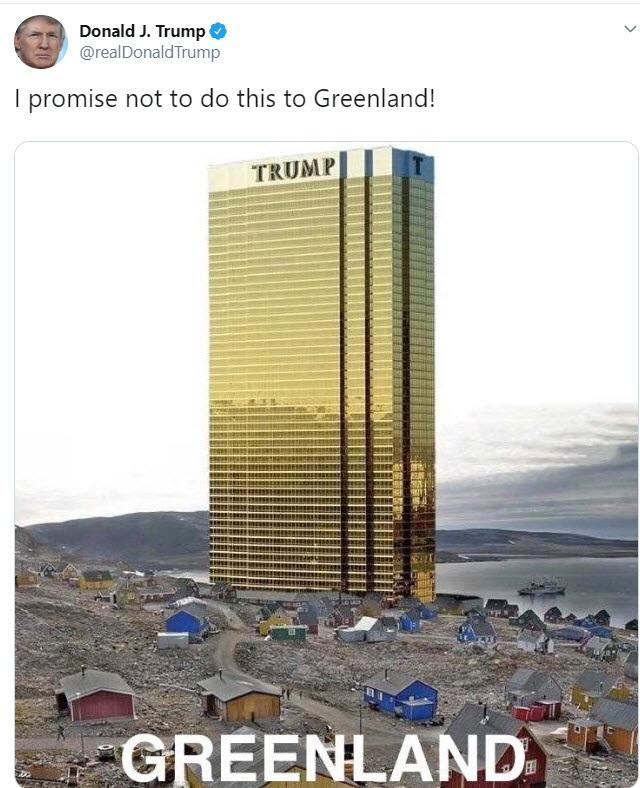 Ông Trump bất ngờ đăng bức ảnh cao ốc chọc trời ở đảo lớn nhất thế giới - 1