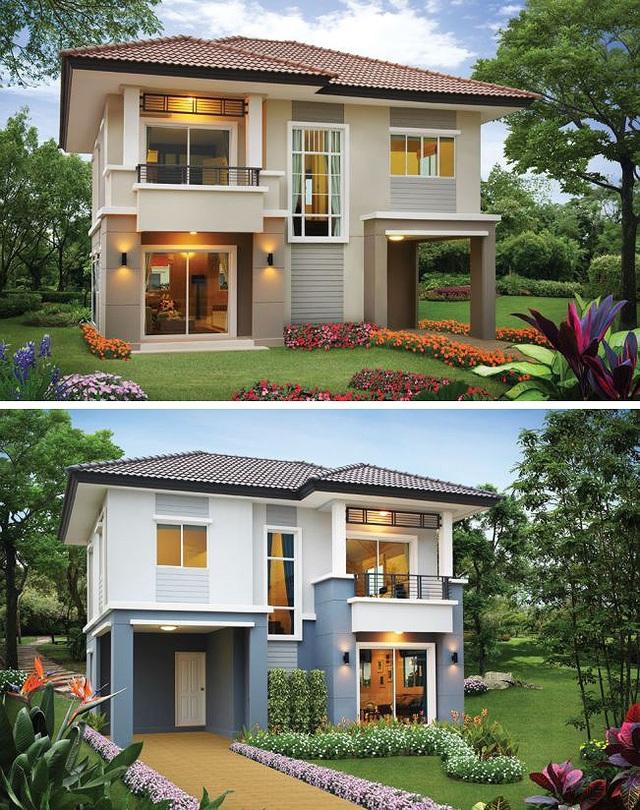 Những mẫu nhà 2 tầng mái thái kiểu mới đẹp ngẩn ngơ - 1