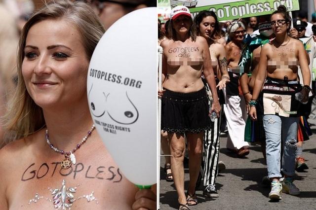 """Phụ nữ ngực trần diễu hành ở New York, đòi quyền được """"thả rông"""" - 1"""