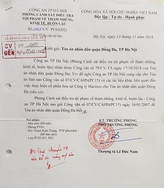 Toà án đợi công an TP Hà Nội hồi âm vụ sai phạm của nguyên giám đốc Công ty Hacinco - 2
