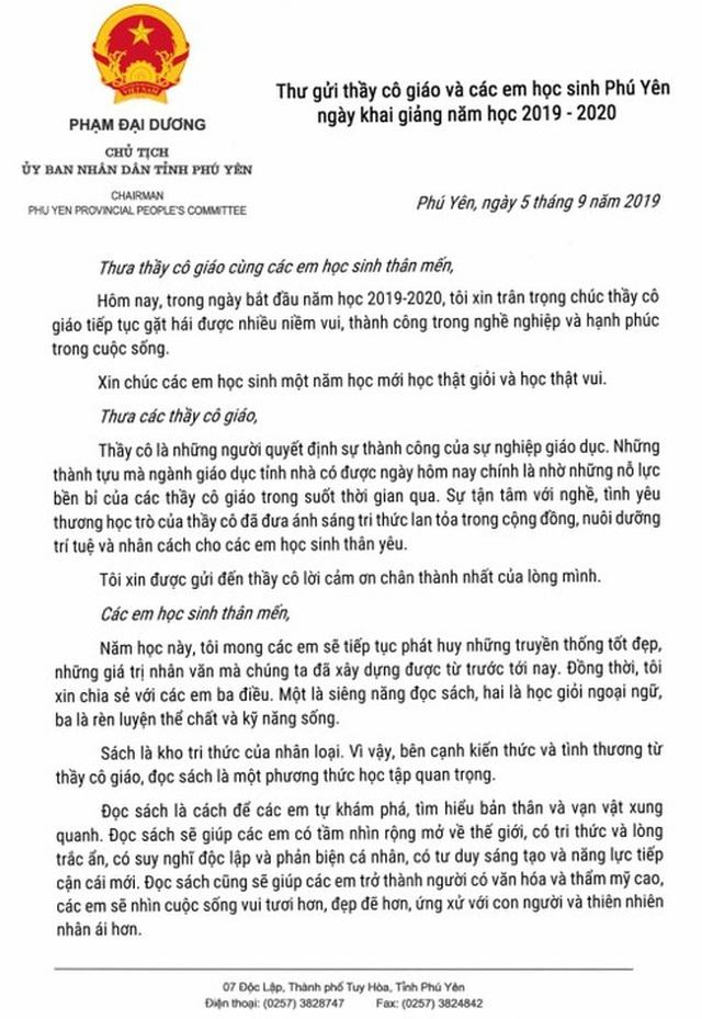 Xúc động bức thư Chủ tịch Phú Yên gửi giáo viên và học sinh nhân ngày khai giảng - 2