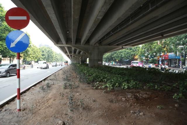 Hà Nội: Dải phân cách dưới đường trên cao nhếch nhác, đầy rác thải - 12