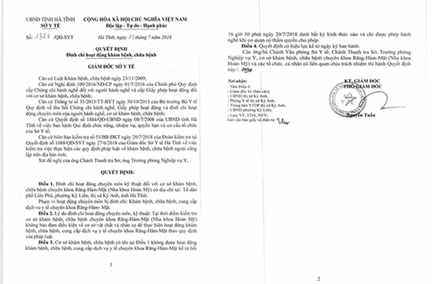 Phòng khám nha khoa làm liều khiến Chủ tịch phường bị kỷ luật  - 2