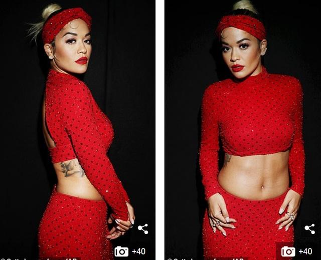 Rita Ora khoe eo săn chắc với váy đỏ rực - 2