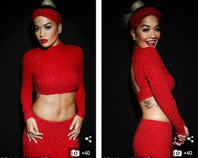 Rita Ora khoe eo săn chắc với váy đỏ rực - 3