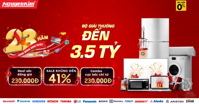 Tivi, tủ lạnh, máy giặt đồng giảm giá siêu hời tháng sinh nhật 23 tuổi Nguyễn Kim - 1