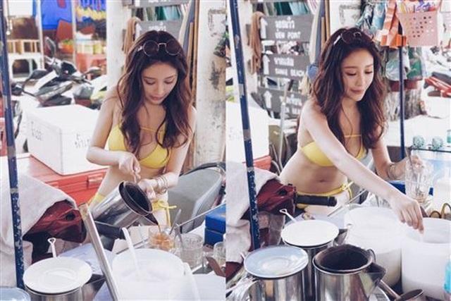 Mặc bikini nóng bỏng bán trà sữa gây tranh cãi - 2