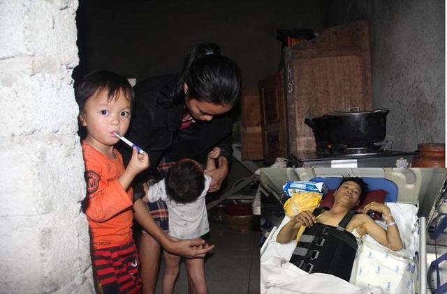 Chồng gặp nạn mà mẹ con chị Liên bất lực vì quá nghèo.