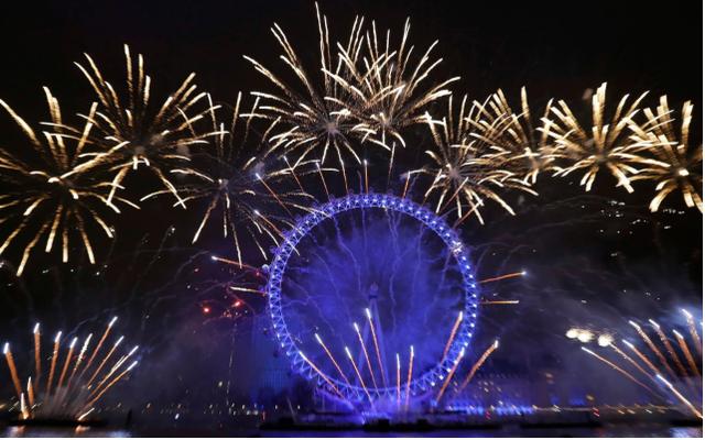 Màn bắn pháo hoa được cho là tạo hình giống lá cờ của EU (Ảnh: Getty)