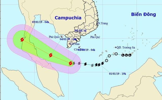 Vị trí và hướng di chuyển của bão số 1. (Ảnh: NCHMF).