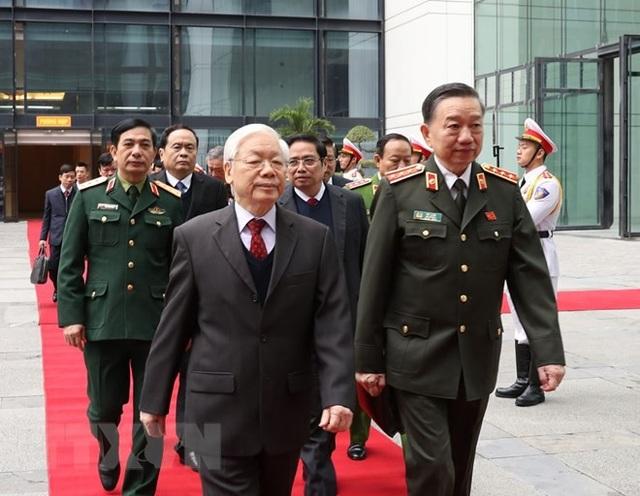 Tổng Bí thư, Chủ tịch nước Nguyễn Phú Trọng đến dự Hội nghị Công an toàn quốc lần thứ 74. (Ảnh: Trí Dũng/TTXVN)