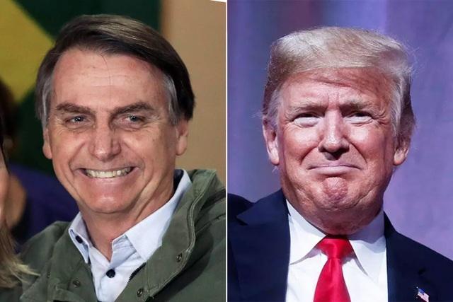Tổng thống vừa nhậm chức của Brazil Jair Bolsonaro (trái) và Tổng thống Mỹ Donald Trump (Ảnh: Getty)