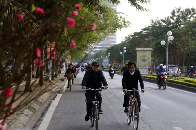 Con đường hoa đào nở đỏ rực ở Hà Nội báo hiệu Tết đã cận kề - Ảnh 1.