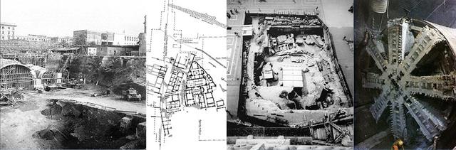Việc xây dựng ga ngầm Termini (Rome ) đã phá huỷ các di sản trên và dưới mặt đất. Hố đào tại quảng trường Duomo trước nhà thờ Milan (Ytaly )bị rào kín