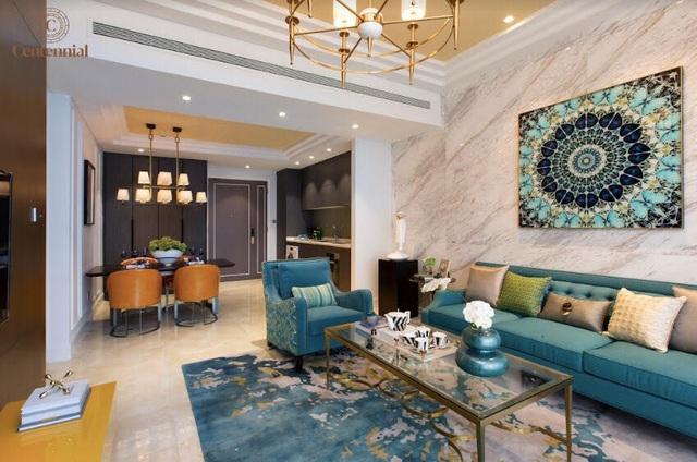 Nội thất căn hộ mẫu 2 phòng ngủ được bài trí tinh tế với gam màu ấm áp và sinh động