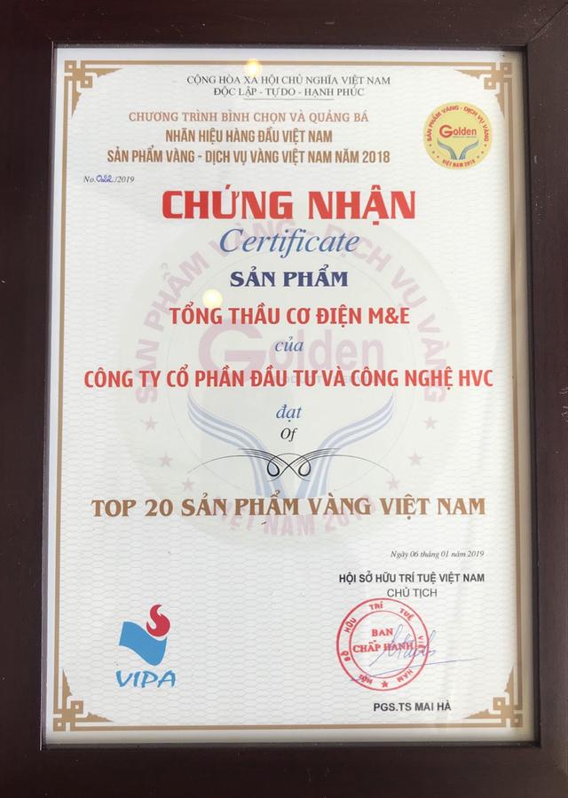 HVC Group lọt Top 20 sản phẩm vàng Việt Nam năm 2018 với sản phẩm tổng thầu cơ điện M&E - 2