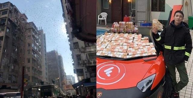Thiếu gia lái Lamborghini rải tiền gây náo loạn