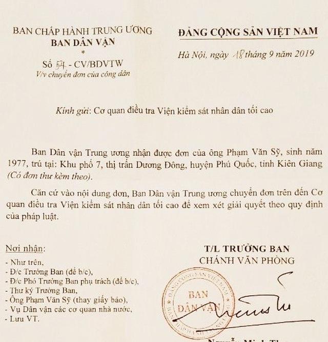 Vụ cố ý gây thương tích tại Kiên Giang: Ban Dân vận Trung ương chuyển VKSND Tối cao giải quyết - 1