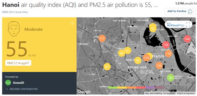 Ứng dụng AirVisual hạ mức cảnh báo không khí ô nhiễm tại Hà Nội - 1