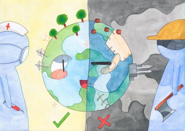 Hà Nội: Học sinh phổ thông vẽ tranh bảo vệ môi trường - 3