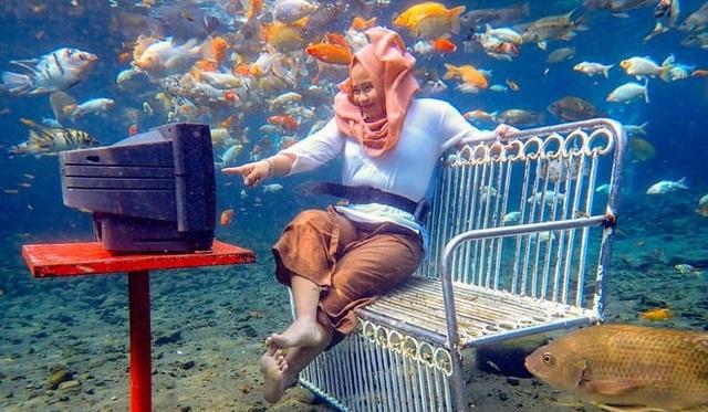 Ảnh chụp dưới nước độc đáo khiến khách nườm nượp kéo đến lặn ao làng ở Indonesia - 3