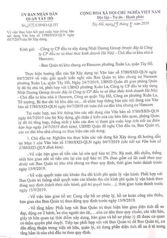 Vụ cư dân Hancom kêu cứu đỏ toà nhà: Quận Tây Hồ thanh minh do lỗi tham mưu! - 4