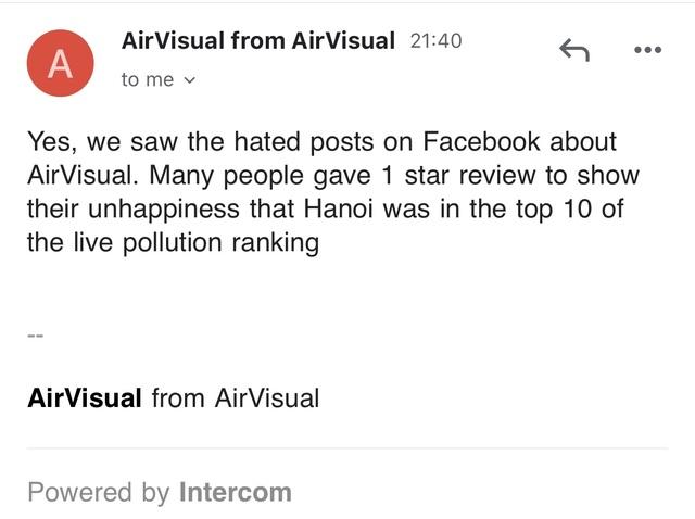 AirVisual chặn  người dùng Việt vì hứng chịu bão đánh giá 1 sao - 5