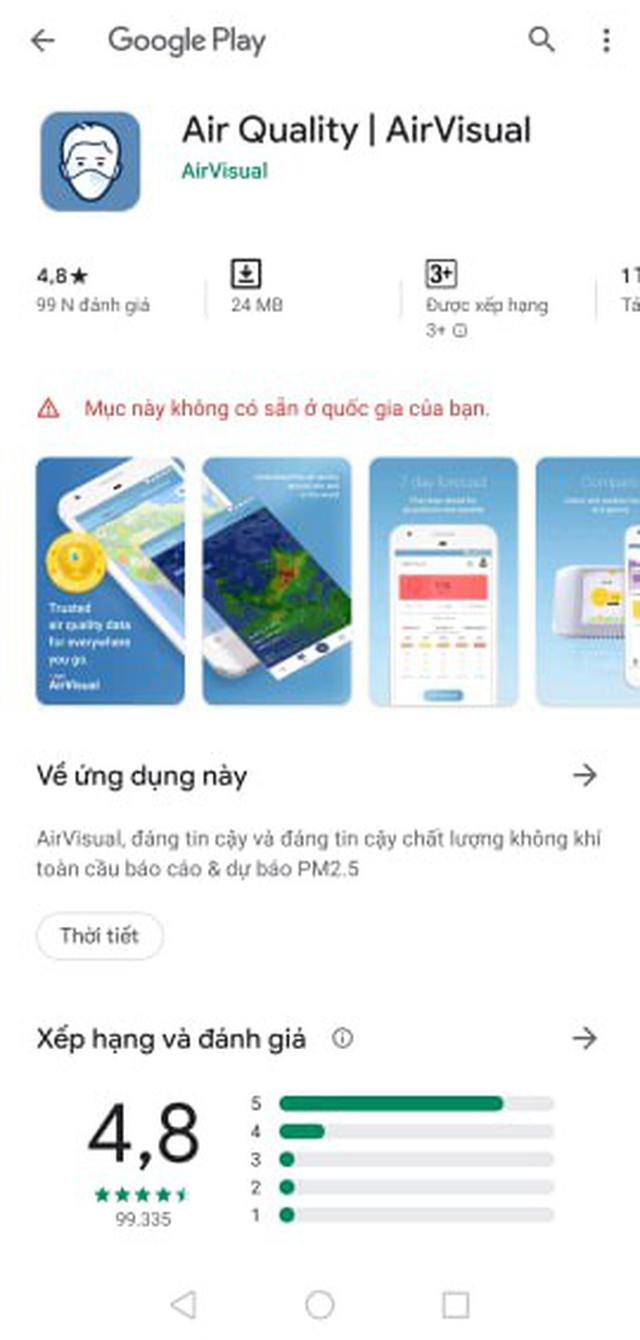 AirVisual chặn  người dùng Việt vì hứng chịu bão đánh giá 1 sao - 2