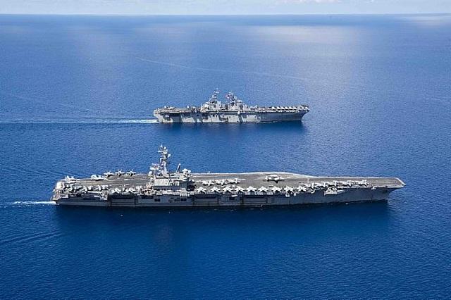 Nhóm tác chiến tàu sân bay, tàu đổ bộ Mỹ tập trận đạn thật tại Biển Đông - 3