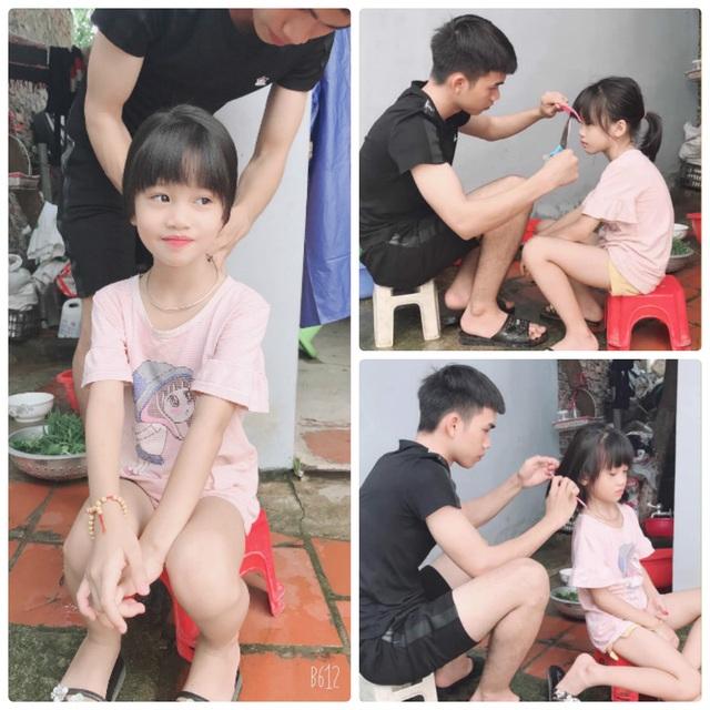 Dân mạng thích thú với hình ảnh anh trai cắt tóc, chải đầu cho em gái - 1