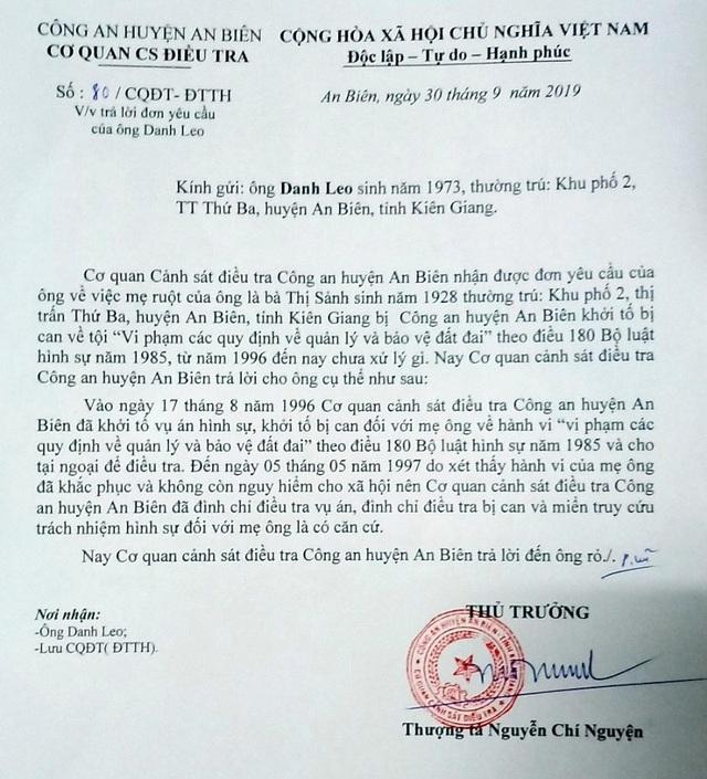 Công an Kiên Giang thông tin bất ngờ vụ cụ bà 23 năm mang thân phận bị can! - 1