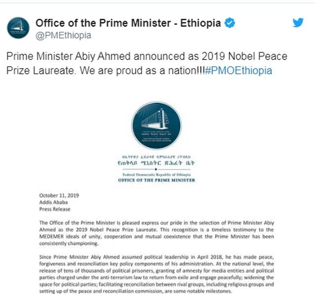 Nhà lãnh đạo trẻ nhất châu Phi, 43 tuổi, giành giải Nobel Hòa bình 2019 - 2