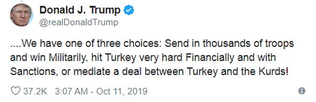 Ông Trump nhắn gửi Thổ Nhĩ Kỳ: Chiến tranh, trừng phạt hoặc thỏa thuận - 2