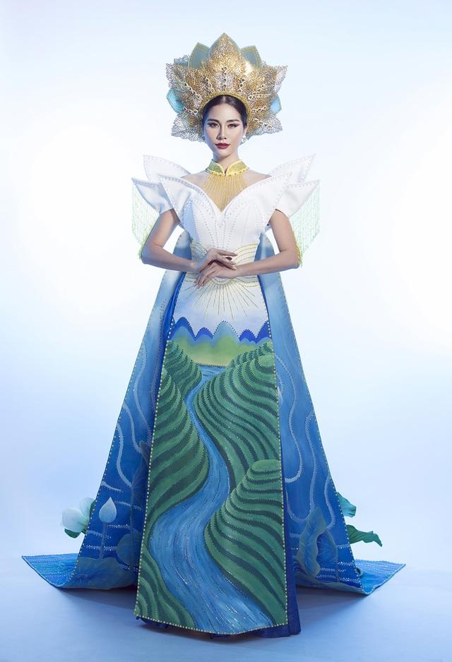 """Hoàng Hạnh mang """"hồ sen"""" lên trang phục dân tộc tại Miss Earth 2019 - 1"""