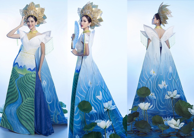 """Hoàng Hạnh mang """"hồ sen"""" lên trang phục dân tộc tại Miss Earth 2019 - 4"""