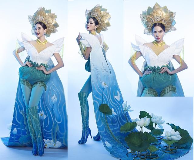 """Hoàng Hạnh mang """"hồ sen"""" lên trang phục dân tộc tại Miss Earth 2019 - 2"""