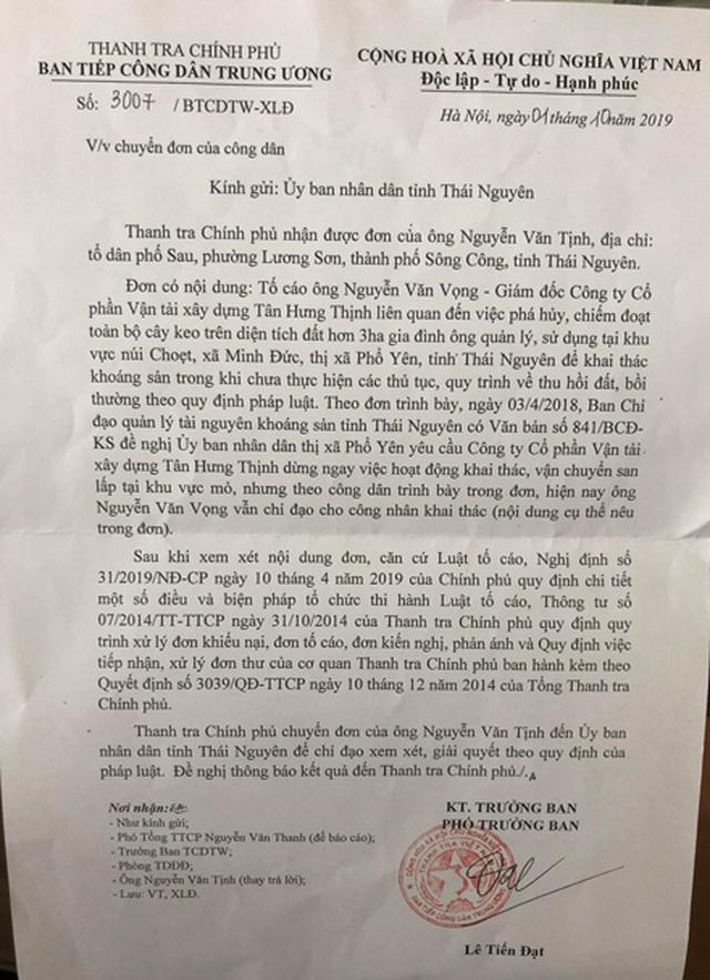 Thanh tra Chính phủ đề nghị Thái Nguyên xử lí dứt điểm vụ phá rừng đào khoáng sản trái phép - 1