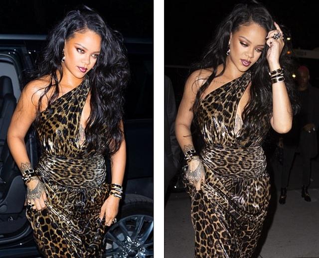 Rihanna xinh đẹp với váy da báo xẻ sâu - 2