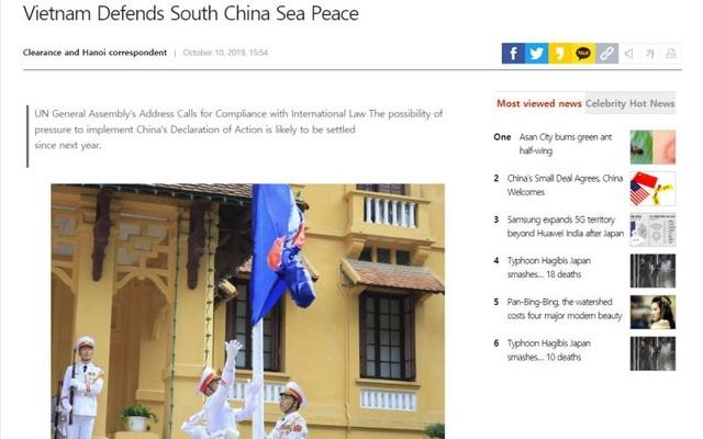 """Báo Hàn Quốc: """"Việt Nam bảo vệ hòa bình ở Biển Đông"""" - 1"""