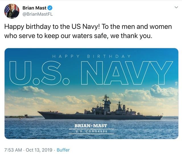 Nghị sĩ Mỹ đăng nhầm ảnh tàu chiến Nga chúc mừng hải quân Mỹ - 1