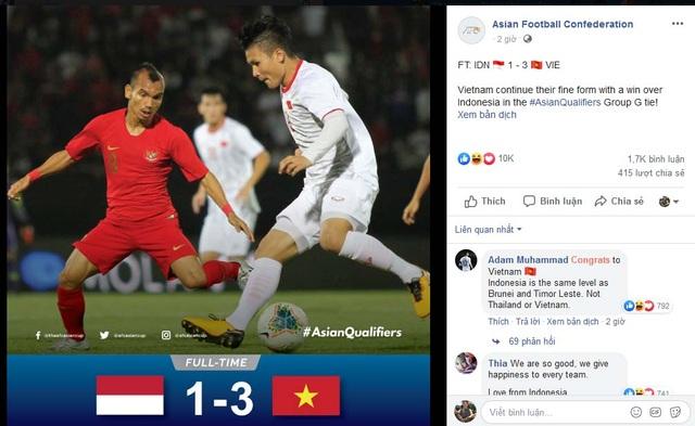 """CĐV Indonesia """"tâm phục khẩu phục"""" trước màn trình diễn của đội tuyển Việt Nam"""