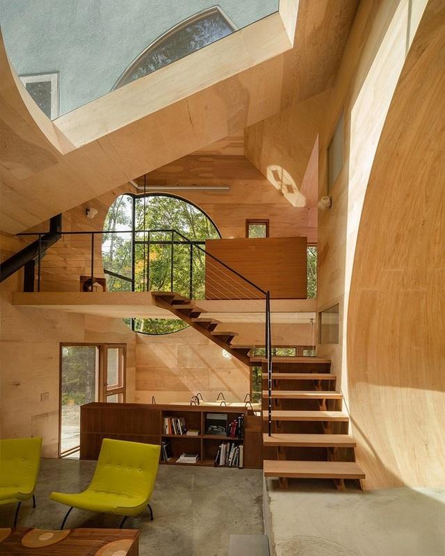 Nhà gỗ hình thang giữa rừng với cửa độc đáo đẹp hút mắt - 2