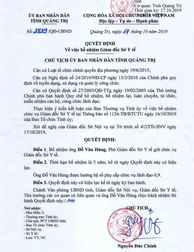 Quảng Trị bổ nhiệm Giám đốc Sở Y tế mới - 1