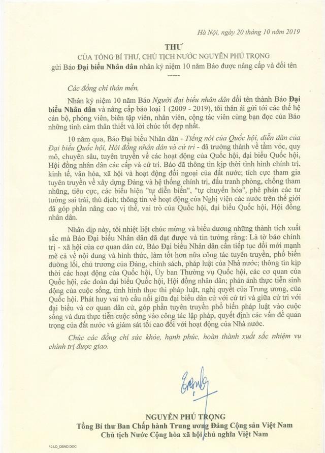 Tổng Bí thư, Chủ tịch nước Nguyễn Phú Trọng gửi thư chúc mừng Báo Đại biểu Nhân dân - 1